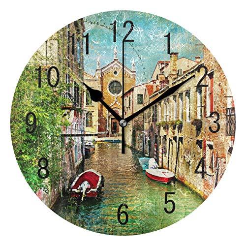 Domoko Home Decor Schöne Ölgemälde Venedig Italien Rund Acryl Wanduhr Geräuschlos Silent Uhr...