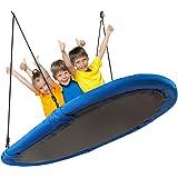 COSTWAY 150cm Ovale nestschommel, boomschommel met 100-160cm verstelbare hoogtes & meerdere lagen touw voor kinderen en volwa