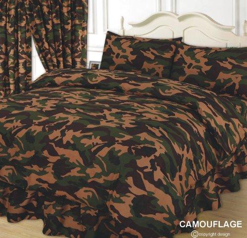 Double Bed Duvet Set, Bettwäsche, Camouflage, Khaki / Grün / Beige / Schokoladenbraun