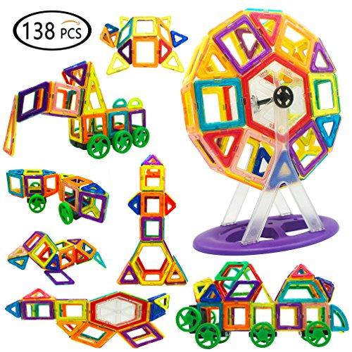 Jolitac 138 Stück Magnetische Bausteine Bauklötze Set Spielzeug Set für Kinder ab 3 Jahre