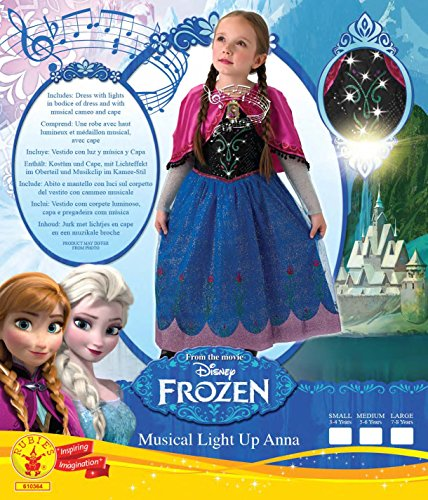 Imagen de disfraz para niñas de anna con luz, oficial de disney, el musical de frozen talla mediana por rubie 's alternativa