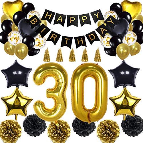 30. Geburtstag Dekorationen Ballon Banner - Happy Birthday Banner, 30. Gold Anzahl Ballons, Schwarz und Gold, Nummer 30 Geburtstag Ballons, 30 Jahre alt Geburtstag Dekoration