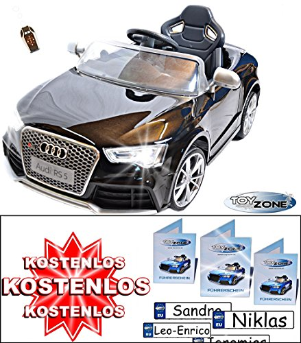 Kinderfahrzeug 12V Kinder Elektro Auto Ride on Audi RS5 schwarz RC Steuerung 2,4GHz Audi Auto