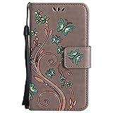 Sony [Xperia Z3 Compact] Hülle Leder, Lomogo Schutzhülle Brieftasche mit Kartenfach Klappbar Magnetverschluss Stoßfest Kratzfest Handyhülle Blumenprägung Case für Sony Xperia Z3 Compact (4,6 Zoll) - HOHA23350 Grau