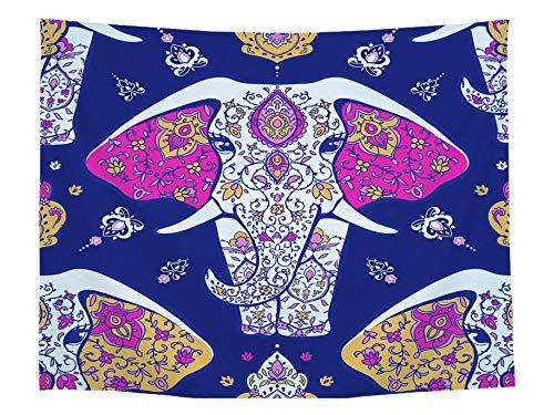 JIAOYK Tapiz de Pared Elefante tapices Colgantes decoración de la Pared Mandala Hippie Bohemio Cortina Colgante de la Pared 130×150 cm