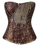 Charmian Women's Steampunk Goth Retro Brocade Victorian Stripe Steel Boned Waist Cincher Bustier Corset Bronze Medium
