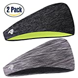 COOLOO Mens Headband, 2 Pack Guys Sweatband Sports Headband for Men Women Unisex, Performance Stretch & Moisture Wicking for Running Work Out Crossfit Gym Tennis Basketball