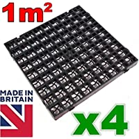 4 x Black Plastic Paving Driveway Grid Turf Grass Lawn Path Gravel Protector Drainage Mat (1 Square Meter)