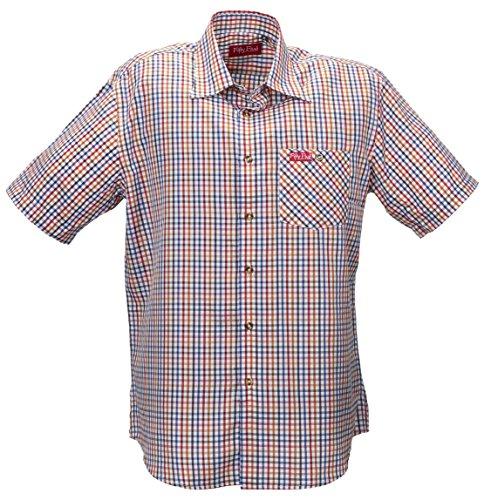 Fifty Five Funktions-Hemd Freizeithemd Kurzarm mit UV-Schutz - André Orange/Blue Check M - Halbarm Hemd Kariert für Sport, Wandern, Trekking mit Ouick-Dry (Jeans-short Sleeve Shirt Work)