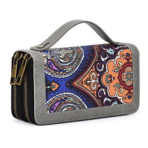 Damen Geldbörse, Portemonnaie mit Handyfach, Muster, Vintage Design, Reißverschluss, Damen Clutch, Reise Organizer