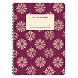 etmamu 417 Notizblock Lila Blumen Muster A5, 60 Blatt blanko