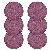 Place Mat, U'Artlines Juego de manteles de hilo de algodón trenzado Round-shapped de 15-inch Round-shapped de 6 (Redondo, Púrpura)