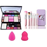 Preyansh Fashion Makeup Kit - 10 Eye Shadows Palette 4 Lip Colour 2 Compact Powders 2 Blushers With 7Pcs Makeup Brush…