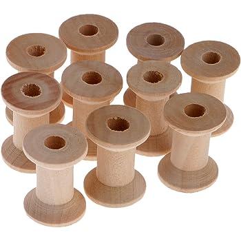 10x Wooden Empty Sewing Bobbins Spools Sewing Thread Ribbon Holder 28x21mm