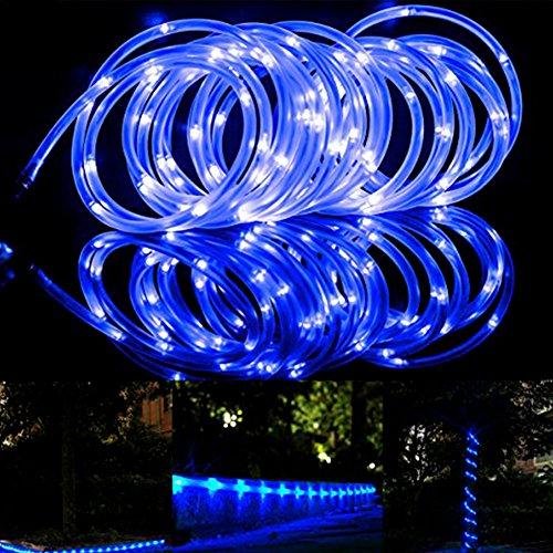 Outdoor 100 LED Solar Lichterkette Lichtschlauch Außen,12 Meter Kupferdraht Wasserdicht,1.2V Tageslichtweiß, Außenlichterkette,Weihnachtsbeleuchtung, Beleuchtung für Hochzeit, Party , hillfield (Blau)