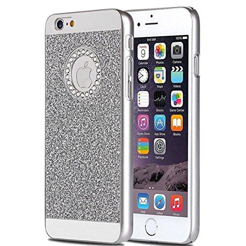 iPhone 7 Plus 2016 Hülle,iPhone 7 Plus 2016 Bling Hülle,JAWSEU Luxus Rose Glitter Strass Glänzend Diamant Rückseite Hart Hülle Case PC Bling Schutz Etui Tasche Schale Cover für iPhone 7 Plus 5.5 Zoll+ Diamant,Silber