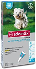 Advantix ® Spot On per cani oltre 4 Kg fino a 10 Kg - 4 pipette da 1.0 ml - Antiparassitario per Zecche Pulci e Pidocchi