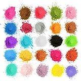 MOSUO Naturale Pigmenti Coloranti, 5g*25 Colori Mica Polvere Colorante Polveri Perlato per Sapone, Slime, Resina Epossidica, Candele, Acquerello, Cosmetici, Fimo, DIY, Make up