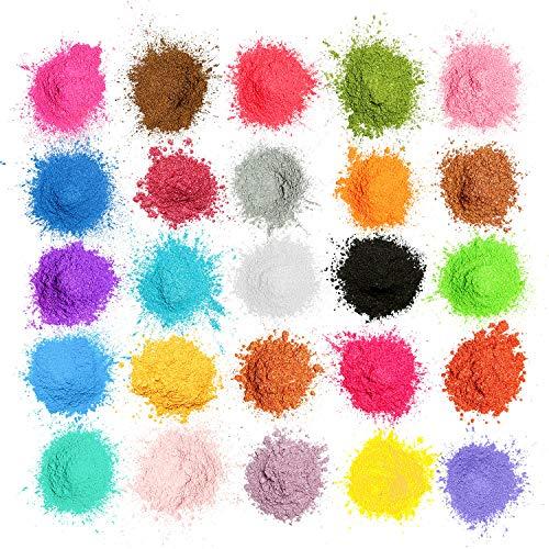 MOSUO Pigments Poudre de Mica, 25 Couleurs Colorant de Savon(5g), Pigment Resine Epoxy Pailletées Naturel Minerale pour Bougies, savons, Boules de Bain, cosmetiques, Vernis à Ongles et Peinture