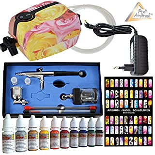 Amur Airbrush Set: Airbrush Kompressor Set - Airbrush Komplett Set - Mini Airbrush Carry II Rosa - mit Airbrush Nail Farben/Schablonen-Set, Airbrushpistole Dauble-Action-Gun 0,2/0,3/0,5mm Nadel/Düsen