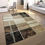 Paco Home Designer Teppich Kariert in Marmor Optik Meliert Braun Beige Schwarz Preishammer, Grösse:160x220 cm