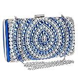 LWZY Party handtasche,Abendessen-tasche Mit schulterkette enthalten-Blau 5x12x22cm(2x5x9inch)