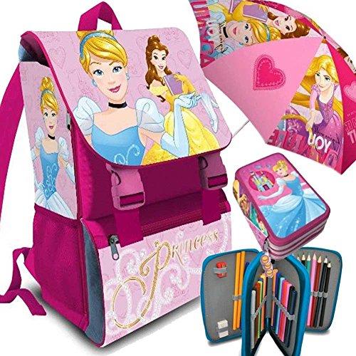Kit Scuola 3 in 1 School Promo Pack Zaino Estensibile + Astuccio 3 Zip Accessoriato + Ombrello Salvaspazio Disney Princess Le Principesse Edizione 2017-2018