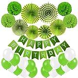 Geburtstag Dekoration, Cocodeko Happy Birthday Wimpelkette Girlande mit 4 Seidenpapier Pompoms, 6 Papier Fans Fächer und 20 Luftballons - Grün, Hellgrün und Weiß