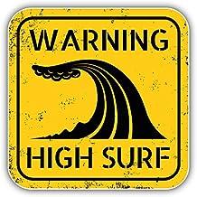 High Surf Beach Warning Sign Pegatina de Vinilo Para la Decoracion del Vehiculo 12 X 12 cm