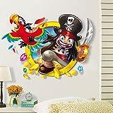 ufengke® 3D Pirat und Vögel Wandsticker, Kinderzimmer Babyzimmer Entfernbare Wandtattoos Wandbilder