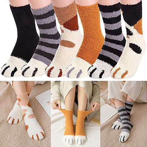Gato Calcetines ,Calcetines Mujer Invierno ,6 pares de garras de gato de invierno Calcetines gruesos y cálidos para dormir, calcetines de felpa de coral de felpa calcetines de tubo femeninos