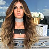 Anself 22'' Natural Soft Long Wavy Ombre Blonde Wig Hair Extensions Synthetic Fiber Hair Wigs High Temperature Heat Resistant