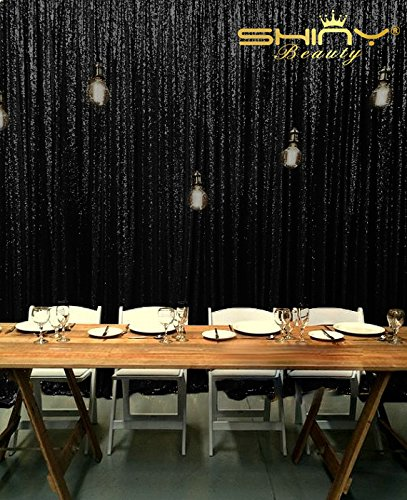 shinybeauty 8x 10ft-champagne Pailletten Hintergrund Photo Booth Vorhang, Hochzeit Photo Booth, Party Fotografie Hintergrund, schwarz, 8X10ft