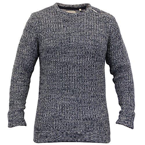 Herren Kabel Strickpulli Pullover Top Pullover By Brave Soul Marineblau/Grau - 181METEOR
