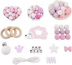 Promise Babe DIY Zahnen Perlen Kit Set Achteckige Perlen Holzring Silikon-Igel Baby Beißring Kauen Sie Schmuck Schnuller Clip Halskette Armband Montessori Spielzeug