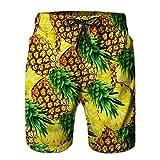Mens Swim Trunks Funny Print Pantalones Cortos de Natación de Piña Secado Rápido Pantalones Cortos de Playa Amarillo M