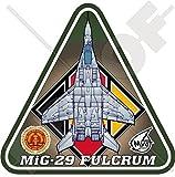 MIG-29 FULCRUM OST DEUTSCHLAND LSK Mikojan-Gurewitsch Mig-29A E.Deutsche Luftwaffe DDR DDR 95mm Auto & Motorrad Aufkleber, Vinyl Sticker