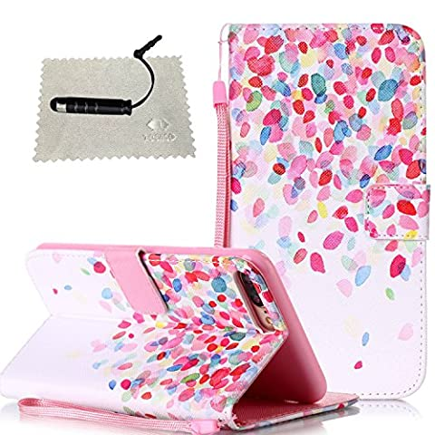 iPhone 7 Plus Case Pink,iPhone 7 Plus Leather Case,iPhone 7 Plus Wallet Case,TOCASO Lightweight Soft Slim Color Painted PU Leather Wallet Case Fantasy Colorful Petal Pattern Magnetic Flip Cover With Stand View Function Soft Silicone Inner Book Style Protective Bumper Case With Hand Strap Built-in ID Credit Card Slots Design Cute Funny Style Full Body Protection Holster for iPhone 7 Plus 5.5 + 1x Pink Stylus Pen + 1x Cleaning