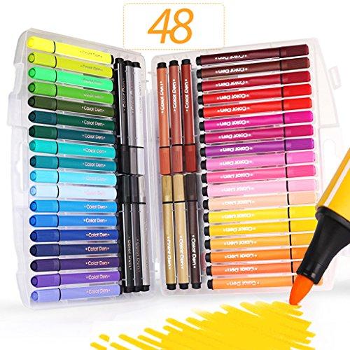 Farbe Stifte waschbar, sayeec sortiert Farben Umweltfreundlich ungiftig Wasser Farbe feine Faser-Spitze mit Faltbare Tasche–Beste Bücher, für Erwachsene/Manga/Comic/Kalligraphie/Skizzieren. 48 Assoerted Colours