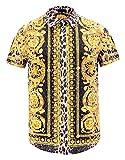 Pizoff Herren Hemdkragen mit kurz Ärmeln Fashion Hip-Hop Tops Hemden mit floral Blumen Luxus Palace Muster Goldener Leopard AL003-29-S