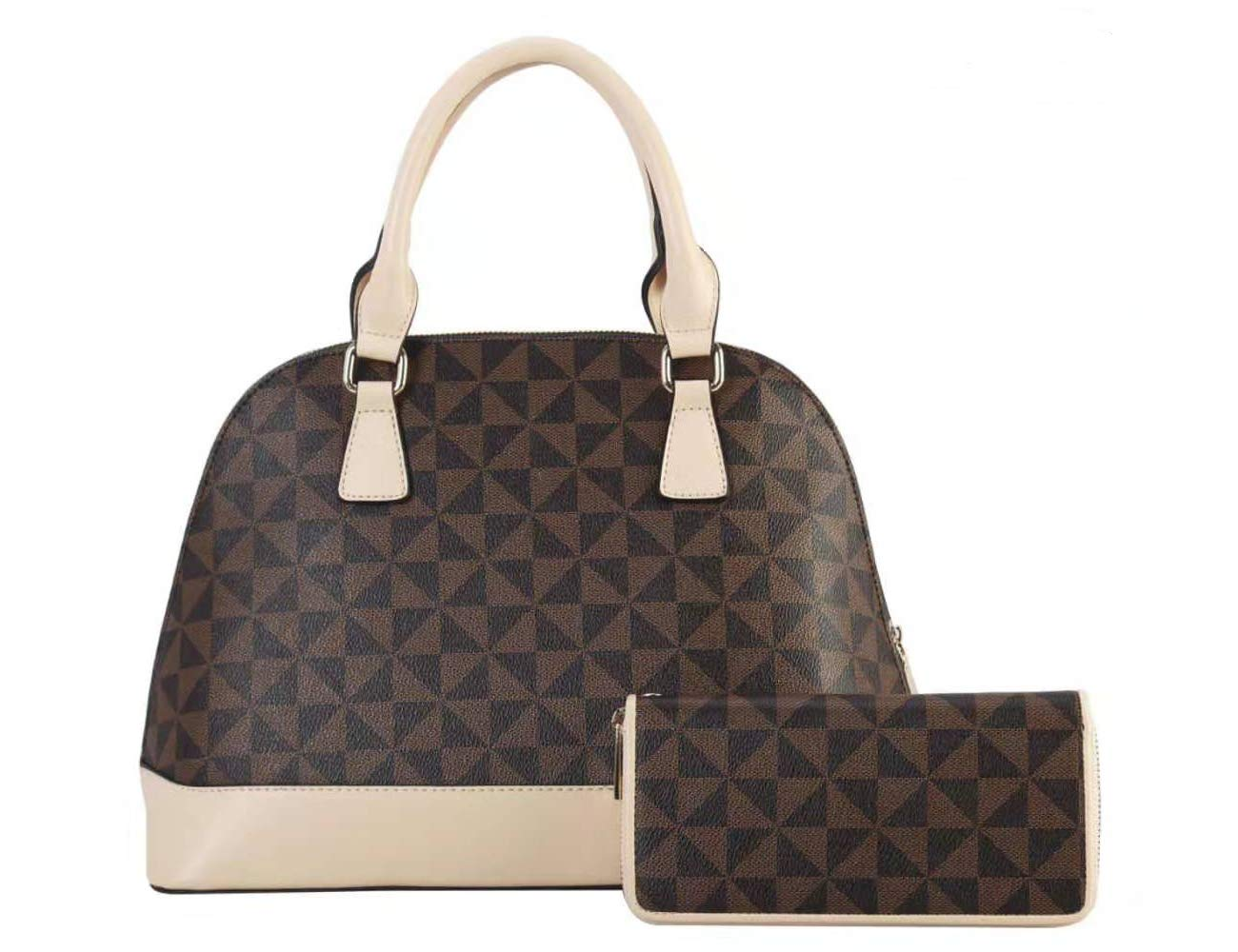 be638abb2a4e Womens Designer Handbags Domed Shoulder Bag Leather Top Handle Bag With  Purse 2pcs Set White Size: L