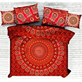 Cotton Indian Ethnic Handmade Red Mandala Cotton Bedsheet For Double Bed With Pillow Cover & Cushion Cover , Hippie Indian Queen Size Tapestry Bedspread Bedding Tapestry Decorative Arts By Handicraft-Palace