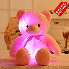EZ Life Illuminating 7 Color LED Light - Teddy Pillow Plush Toy - Plush and Soft Toy - Pink - Extra Discount Offer