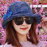 HAPPY-Cap Primavera e L'Estate Femminile Cappello da Sole Cappello di pentole in Chiffon di Moda Il Cappello Cappello a Tesa Larga Grande Sole Fiore, Blu/A