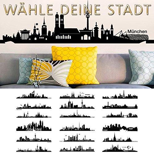 Grandora Wandtattoo Skyline Paris I (BxH) 100 x 25 cm schwarz I Wohnzimmer Städte der Welt Aufkleber selbstklebend Wandaufkleber Wandsticker Sticker W5156 - Paris-wand-aufkleber