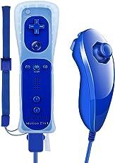 Motion Plus Controller, Prous XW15 Nintendo Wii Controller und Nunchuck Eingebauter Motion Plus Vibrationsmotor Bluetooth-Gamecontroller Mit Silikonhülle Handschlaufe für Wii und Wii U-Dunkeles Blau (Produkt von Drittanbietern)