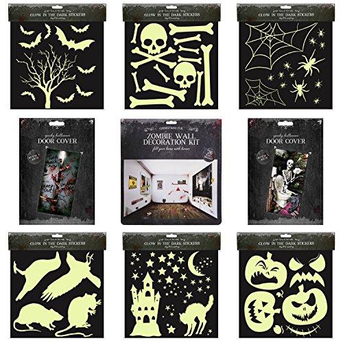 Halloween Haus Dekoration-Set | komplett 33Teile Kit | inkl. Zombie Aufkleber | Scary Luminous Aufkleber | Spooky Tür, (Scary Halloween Haus Dekoration)