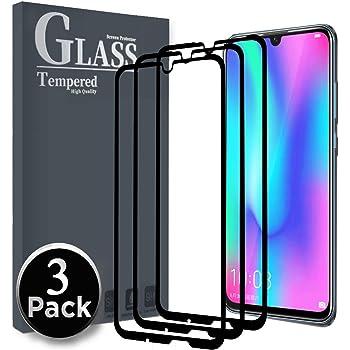 Ferilinso Vetro Temperato per Honor 10 Lite/Huawei P Smart 2019,[3 Pack] [Copertura Totale] [Colla Completamente Adesiva] [autoassorbimento] [Corretto] Pellicola Protettiva (Nero)