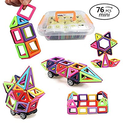 URXTRAL Magnetische Bausteine, Magnetische Bau Modelle Bausteine Spielzeug DIY 3D Magneter Designer, Eltern-Kind, kreative und pädagogische Spielzeug Geschenk für Kinder-76 Stücke von URXTRAL