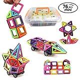 URXTRAL 76 piezas Mini bloques de construcción 3D magnéticos, construcción de imán conjunto de azulejos, creativo y educativo regalo de apilamiento de juguetes magnéticos para niños con caja de almacenamiento